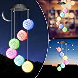 Windspiele für Draußen, Solarleuchten LED Mobile Windspiele Farbwechsel Solarbetriebene Gartenlampe Hängeleuchte für Baum Terrasse Deck Hof Rasen Hinterhöfe Wege Garten Party Deko