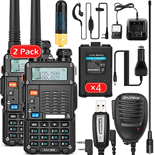 Ham Radio Walkie Talkie (UV-5R) UHF VHF Dual Band 2-Way Radio with Rechargeable Li-ion Battery Handheld Walkie Talkies Complete Set with Earpiece and Programming Cable (2 Pack)