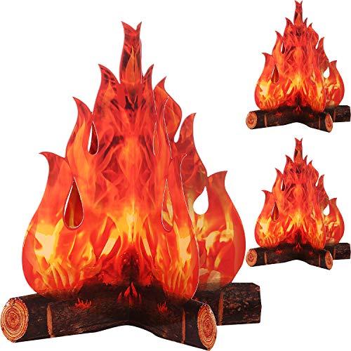 Boao 3D Dekorative Pappe Lagerfeuer Herzstück Künstliches Feuer Gefälschte Flamme Papier Party Dekorative Flamme Fackel (3 Set)