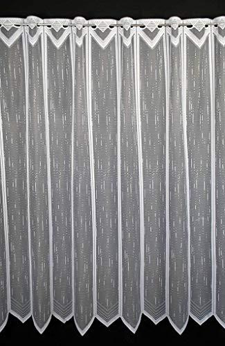 Scheibengardine längs gestrichelt 180 cm hoch | Breite der Gardine durch gekaufte Menge in 23,5 cm Schritten wählbar (Anfertigung nach Maß) | Weiß | Vorhang Küche Wohnzimmer