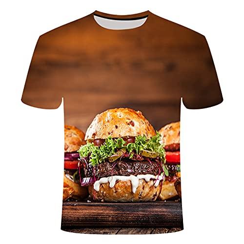 SCLDX 3D Impreso Manga Corta T-Shirt - Verano Unisex Novedad Camisetas Personalizadas Burger Fries Gráfico Moda Casual Cuello Redondo Camisas Creativas para Hombres Y Mujeres Camiseta Top Plus Si