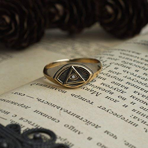 All-Seeing Eye Masonic ring, Eye of Providence Illuminati Triangle, Secret Society Symbol, freemasonry