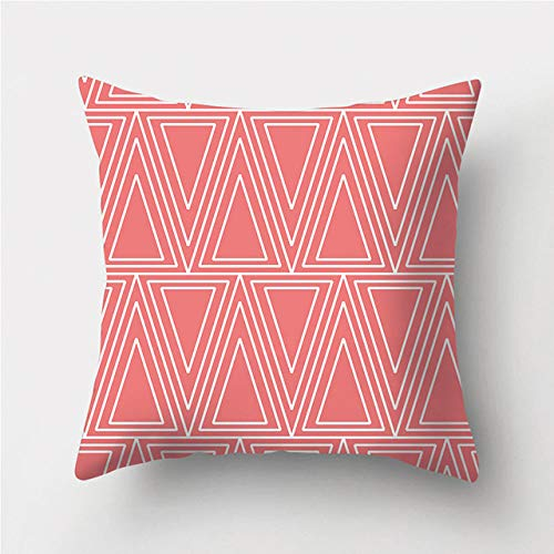 NTDRB Funda de Almohada Decorativa con patrón geométrico Rojo Coral Claro, Funda de cojín de poliéster, Funda de Almohada Decorativa para sofá, 2BZ, 40926,013