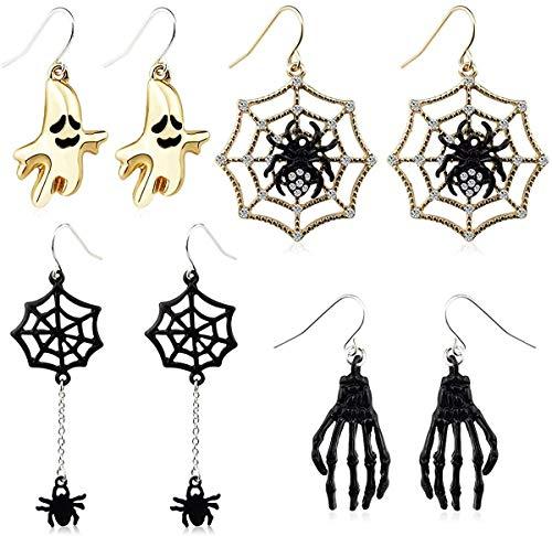 Juego de 4 pares de aretes de Halloween con diseño de telaraña y dedo fantasma para mujeres y niñas