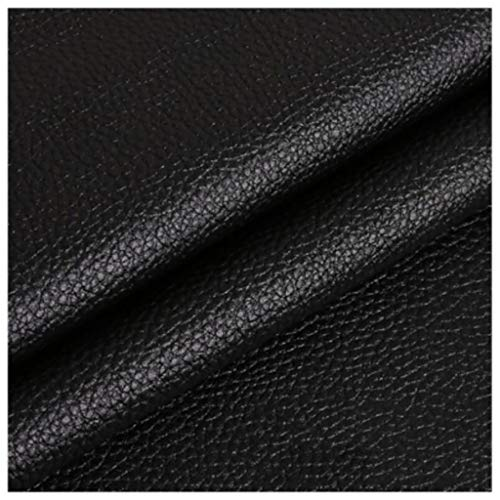SSYBDUAN Möbelstoff Premium Bezugsstoff Zum Weiches Kunstleder, Meterware ,1 Einheit = 100 cm, 2 Einheiten= 200 cm, geeignet für Sofas, Stühle und Taschen, Schwarz, 1,4 x 1m