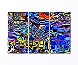 Vos bilder24. di–Decorazione da parete 3pezzi colore astratta mosaico specchio su tela e case. Migliore qualità, fatto a mano in Germania., blau gelb weiß grün rot orange braun schwarz rosa, 40 x80