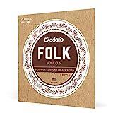 D'Addario EJ32 Folk Nylon, cuerdas para guitarra con extremo de bola, agudos de nailon negro/entorchado en plata, 028' - 045'