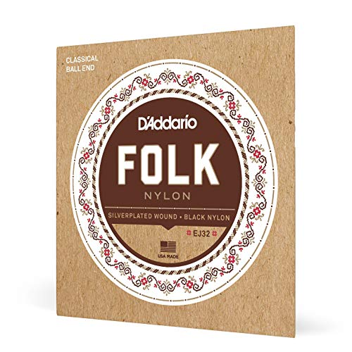D'Addario EJ32 Folk Nylon Guitar Strings, Ball End, Silver Wound/Black Nylon Trebles