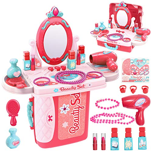 Buyger 3 en 1 Kit Maquillaje Niñas Maletin Belleza Peluqueria Tocador Juguete...