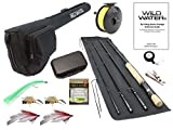 Wild Water Fly Fishing 9 Foot, 4-Piece, 7/8 Weight Fly Rod Complete Fly Fishing Rod and Reel Combo Starter Package with Saltwater Flies