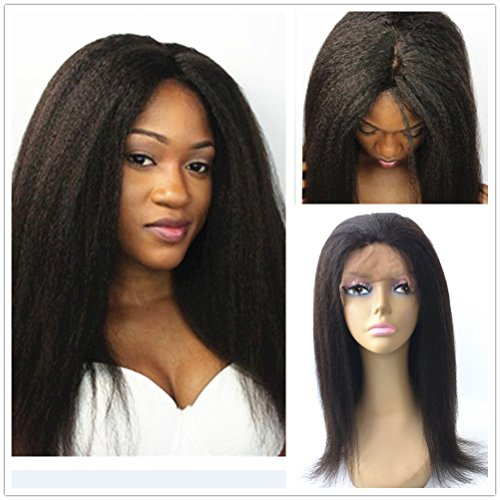 """JYL Hair Italian Yaki 360 Silk Top Lace Frontal Wig Pre Plucked Bleached Knots 150% Density Human Hair Wigs For Women 360 Silk Base Wigs with Baby Hair (16"""" silk top)"""