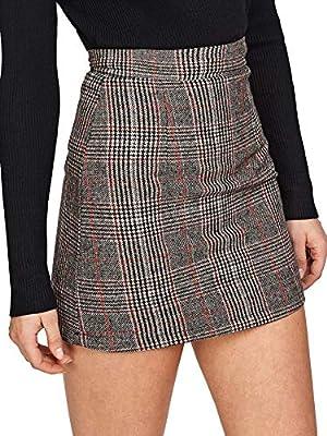 Floerns Women's Plaid High Waist Bodycon Mini Skirt Grey Orange S
