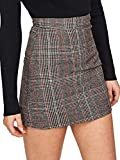 Floerns Women's Plaid High Waist Bodycon Mini Skirt Grey-1 S