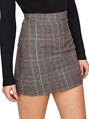 Floerns Women's Plaid High Waist Bodycon Mini Skirt Grey-1 M