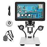 TTLIFE Microscopio Digital 7 '' Pantalla HD 12MP Cámara 1200X con 8 Luces LED e Mando a Distancia con Cable para Reparación De Relojes De Placa De Circuito Tasación De Joyas Investigación Científica