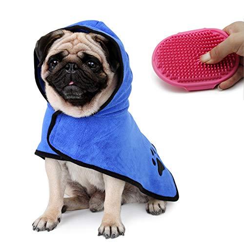 Mibac Toalla Absorbente de Secado rápido Toalla de baño para Perros Albornoz de Microfibra para Perros (con Cepillo de baño para Mascotas)
