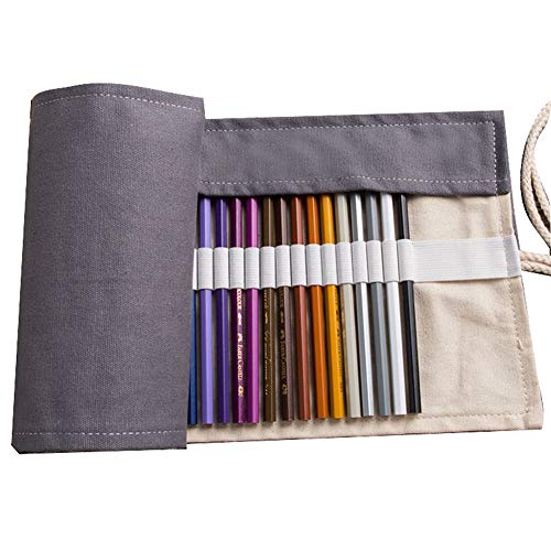Canvas Colored Pencil Roll Wrap 36/48/72 Holder (PENCILS NOT INCLUDED) Multiuse Canvas Pen Curtain Manual Pencil Holder (Grey, 72 Capacity)