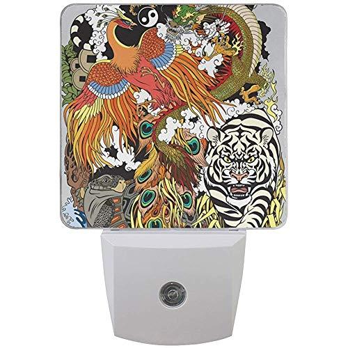 Constelaciones mitológicas chinas Cuatro animales celestes en Feng Shui Dragón Phoenix Tortuga y tigre LED Luz nocturna Sensor automático Anochecer a amanecer Enchufe en interiores para adultos