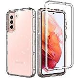 ACKETBOX Schutzhülle für Samsung Galaxy S21 5G (15,7 cm / 6,2 Zoll), robust, glitzernd, kristallklar, PC-Rückseite + Frontabdeckung & TPU-Schutzhülle