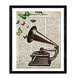Nacnic Lámina para enmarcar Gramola con Mariposas Regalo Vintage. Laminas para enmarcar con imágenes de música. Regalo Curioso. Papel 250 Gramos