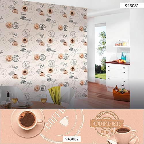 Retro-Tapete Küche | Kaffee-Tapete weiß grau crème 94308-1 | Papiertapete für Küche 943081 | Küchentapete Kaffee | Jetzt Cafe-Tapeten online kaufen!