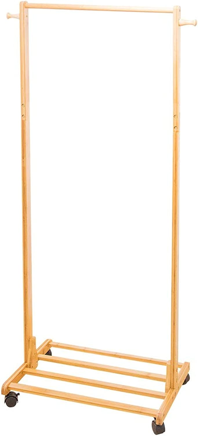 Floor Standing Hat and Coat Rack Clothes Hat Tree Stand Hanger Bamboo Bedroom Shelf Simple Household GAOFENG (color   Natural, Size   A)