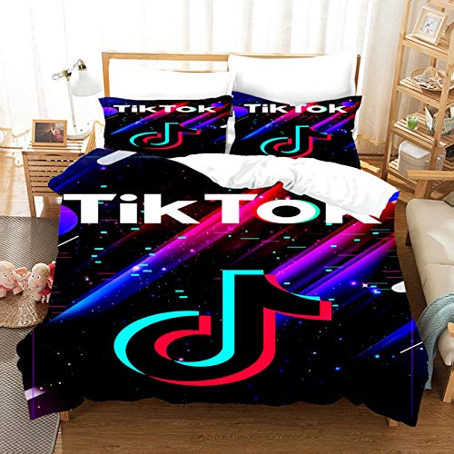 ZJJIAM Tik Tok Ropa de cama infantil, 135 x 200, moderno logotipo social, juego de funda nórdica y 2 fundas de almohada, cama doble king (2,220 x 240 cm + (80 x 80 cm)