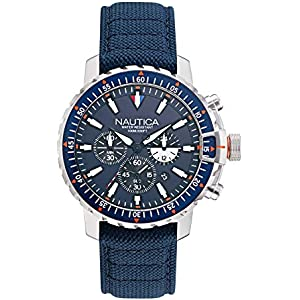 Save on Nautica Men's Icebreaker Stainless Steel Japanese Quartz Watch with Nylon Strap, Blue, 22 (Model: NAPICS006) and more