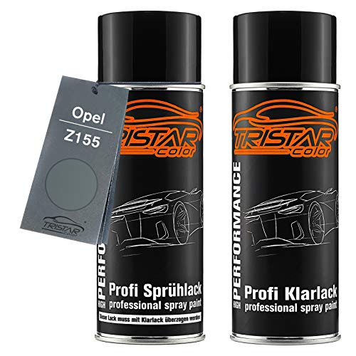 TRISTARcolor Autolack Spraydosen Set für Opel Z155 Moonland Metallic Basislack Klarlack Sprühdose 400ml