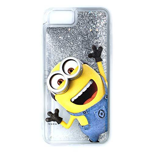 ERT Despicable Me Minion - Carcasa para iPhone 6+, 6S, 7+, 8+, Purpurina líquida, Transparente y Plateada, DWPCMINS626