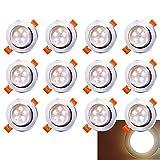 Hengda LED Einbaustrahler 12x 5W Warmweiß 3200K LED Deckenstrahler Schwenkbar Einbauleuchte 420lm Deckenleuchte 230V Deckenspots Wohnzimmer, Schlafzimmer, Bad