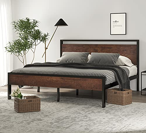 SHA CERLIN 14 Inch King Size Metal Platform Bed Frame with Wooden Headboard and Footboard, Mattress Foundation / No Box Spring Needed, Large Under Bed Storage, Non-Slip Without Noise, Mahogany