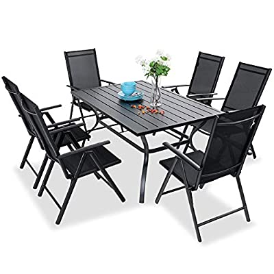 "PHI VILLA 7 pcs Patio Dining Set, 6 Outdoor Reclining Folding Sling Chair with Armrest & 1 Rectangle Patio Dining Table with 1.57"" Umbrella Hole"