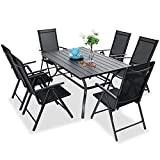PHI VILLA 7 pcs Patio Dining Set, 6 Outdoor Reclining Folding Sling Chair with Armrest & 1 Rectangle Patio Dining Table with 1.57' Umbrella Hole