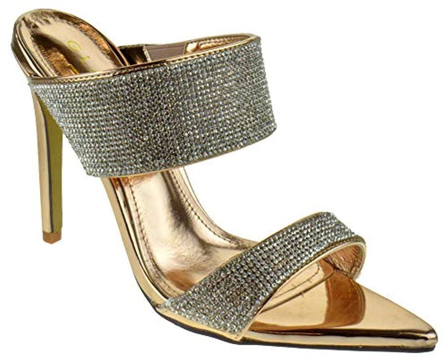 Glaze Borry 1 Womens Classic Stiletto Mule Heel Double Band Rhinestone Pointed Toe Dress Sandals