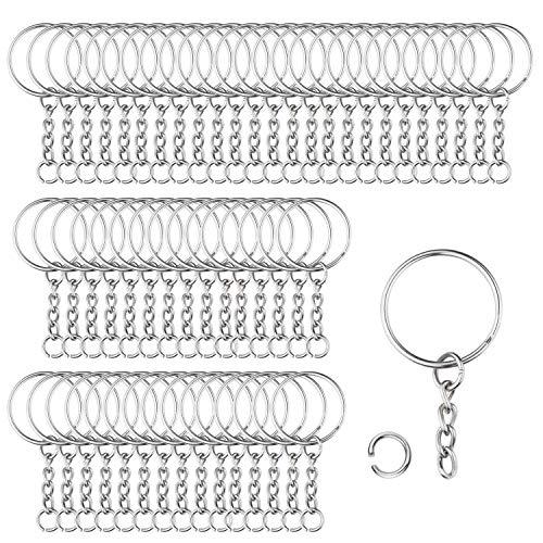 100 Stück 25mm Schlüsselring mit Kette Schlüsselanhänger mit Spaltringe für Schlüssel Handwerk DIY, Schmuckherstellung, Rostfreies Metall (Silber)