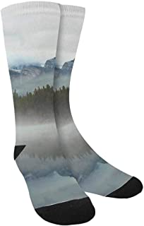 Airplane Mountains Landscape Crew Socks Adult Athletic Sublimated Socks for Men Women