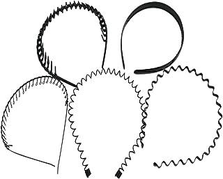 palaisgent カチューシャ 5種類セット 波型 コイル コーム付き シンプル ブラック 男女兼用
