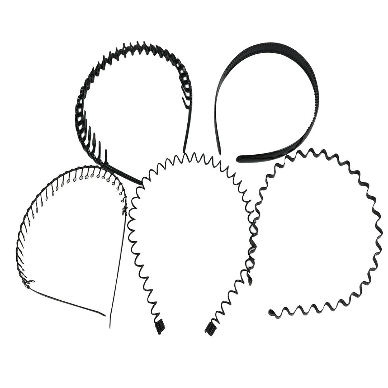 損傷職業繊毛palaisgent カチューシャ 5種類セット 波型 コイル コーム付き シンプル ブラック 男女兼用