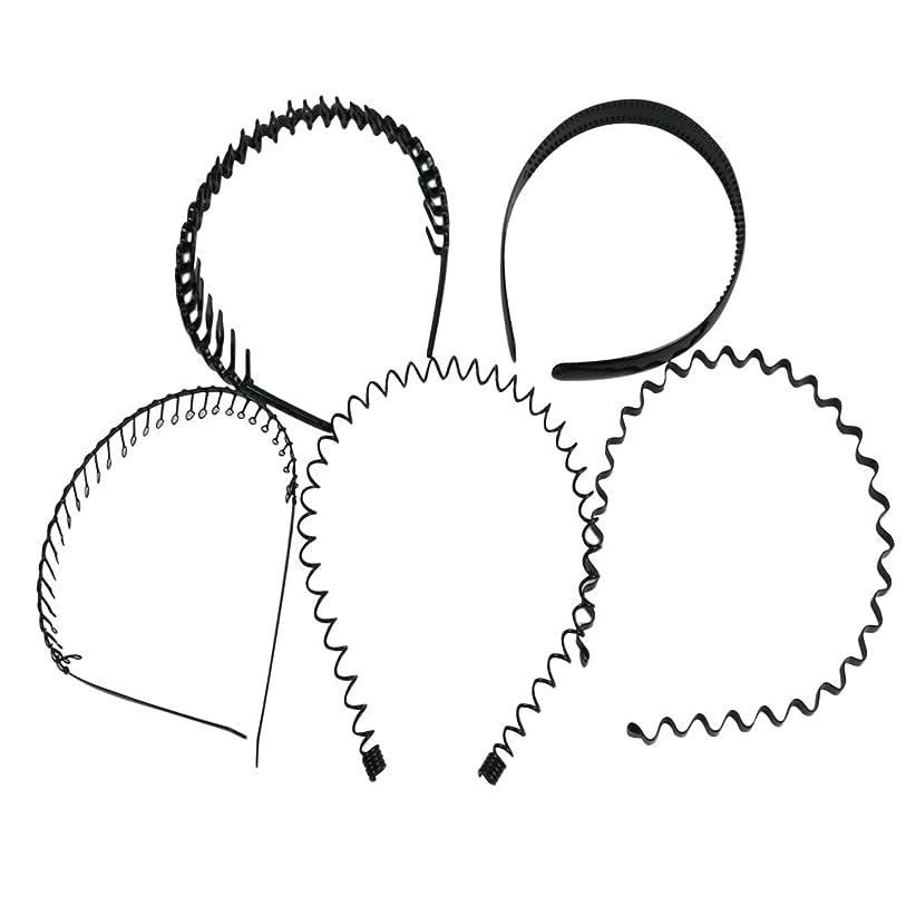 関数岩仕方palaisgent カチューシャ 5種類セット 波型 コイル コーム付き シンプル ブラック 男女兼用