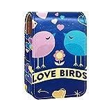 Pájaro Azul del Amor Impresiones Estuche para lápiz Labial Mini Estuche Organizador con Soporte para lápiz Labial con Espejo para Bolso Estuche para cosméticos de Viaje