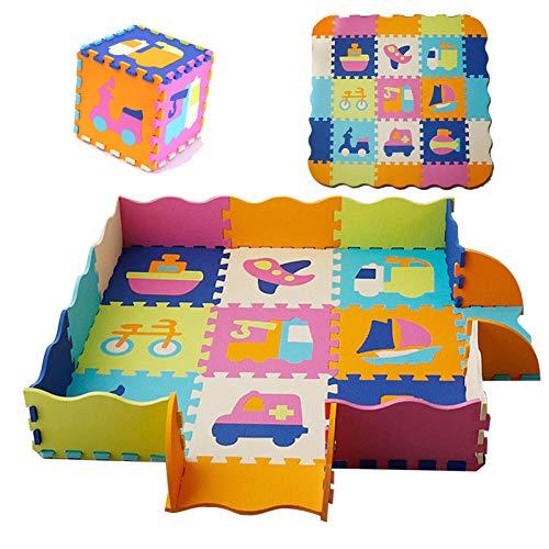 HB.YE Alfombra puzzle multicolor para bebé, de espuma, para niños, para jugar a juegos, para el suelo, dormitorio, yoga, 30 x 30 cm (coche, 9 piezas)