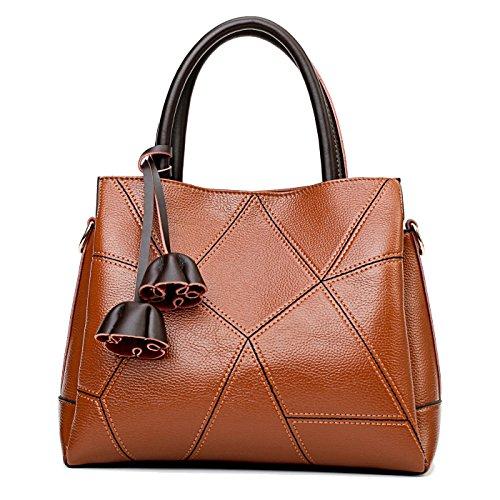 SDINAZ Damen handtaschen Mode Schultertaschen weich Leder Hohe Kapazität Shopper Umhängetaschen Braun