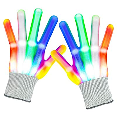 Led Gloves Kids Glow Gloves 6 Modes 5 Colors Light Up Gloves Finger Light Gifts for Children Halloween Christmas Costume Clubbing Classroom Neon Rave Party Supplies