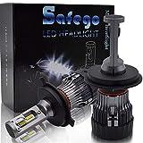 H4 LED Kit Lampadine Faro Auto - Safego Hi/Lo 60W 10000LM Kit Conversione LED Automatico Chip LED Sostituisci per Luci Alogene Auto o Lampadine HID 12V MiniHL-H4