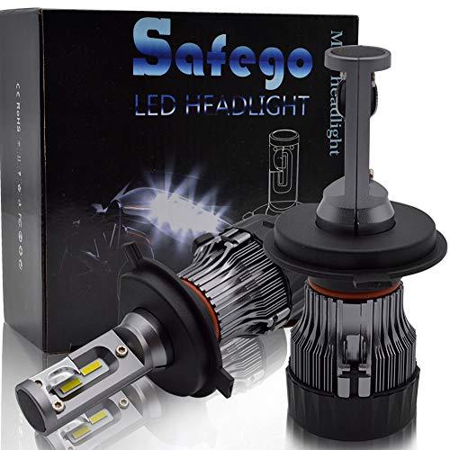 Safego Ampoule H4 LED, 60W 5000LM Phares pour Voiture et Moto, Ampoules Auto de Rechange pour Lampes Halogènes et Kit Xenon, DC 12V 6000K-6500K, 2 Ampoules