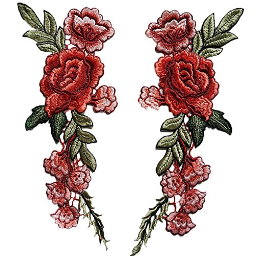 """2PC Roses Floral Collar Sew Patch DIY Embroidered Sew Iron on Patch Applique Badge Chinese Style by Perman (11.0""""X3.93"""", Red)"""