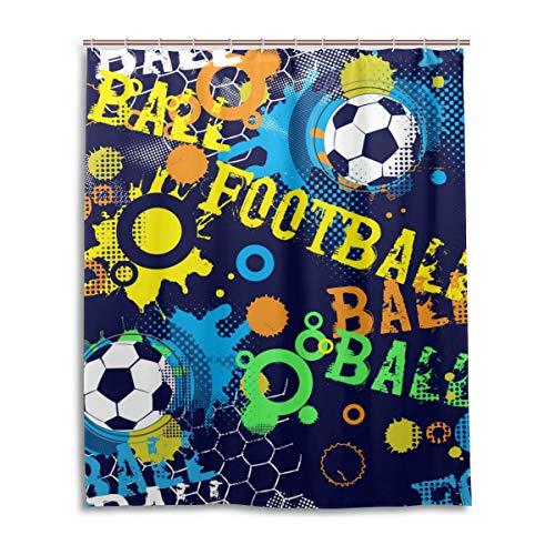 jeansame Duschvorhang Wasserdichter Badezimmervorhang Set mit Haken Fußball Fußball Boy Abstrakte Spiel Sport, Polyester, Mehrfarbig, 170x180cm