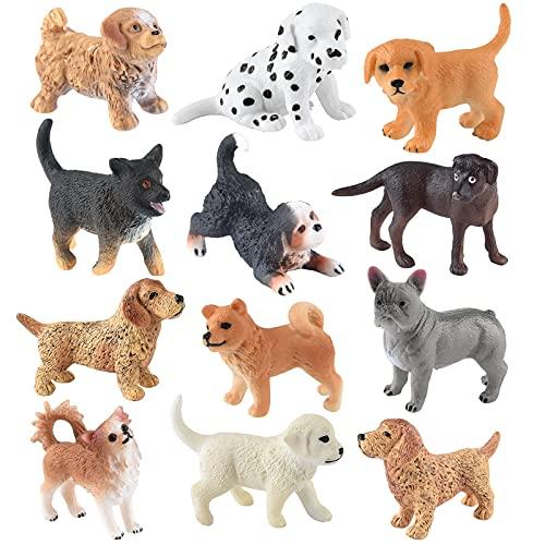 ELECLAND Figuras 12pzas Animal Lindo Cachorro de Perro Figuras realistas Animales Figurines para Perros Primeros de la Torta de cumpleaños de los niños de la Torta Decoraciones, Baby Shower, Navidad