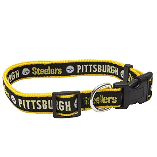 Pets First NFL Pittsburgh Steelers STRONG & ADJUSTABLE DOG Collar, Large